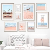 sea beach lounge palm car bike starfish wall art canvas painting nordic posters and prints wall pictures for living room decor