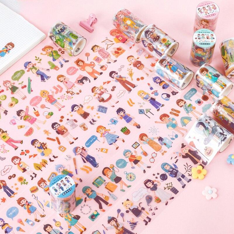 60mm * 3m Kawaii Girl Masking Washi Tape DIY cinta adhesiva decorativa para álbum de recortes diario decoración pegatina Kawaii papelería