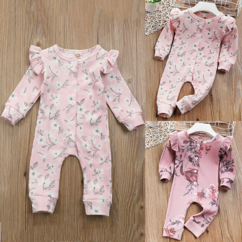 CANIS-vêtements pour nouveau-né fille   Vêtements dhiver, manches longues, boutons à volants, rayures, imprimé Floral, barboteuse, tenues