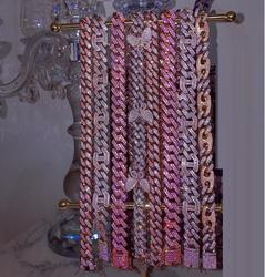 "16 ""cor-de-rosa cubana gargantilha 15mm largura micro pave cz hip hop bling pinky feminino corrente colar 5 cores"