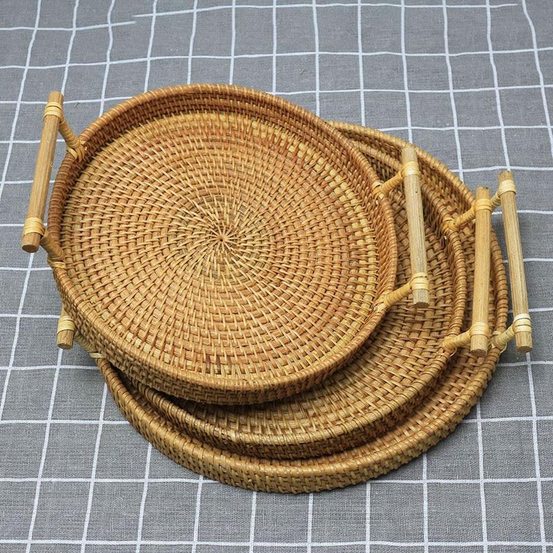 Mão quente tecido vime rattan cesta pão frutas lanche bandeja redonda cesta de armazenamento cnt 66