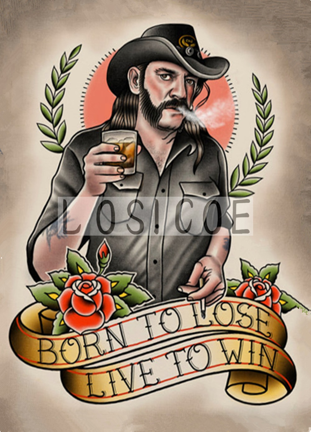 """""""BORN TO LOSE LIVE TO WIN"""" 30X42 CM nostalgia papel kraft clásico cartel sin marco pintura tatuaje decoración de pared de tienda"""