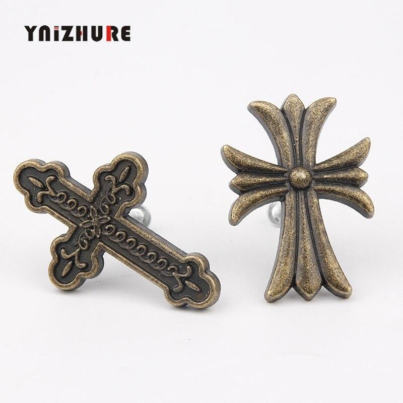YNIZHURE 1PC Antique créatif religieux fête croix armoire tiroir bouton meubles placard boîte poignée cuisine Bronze bouton