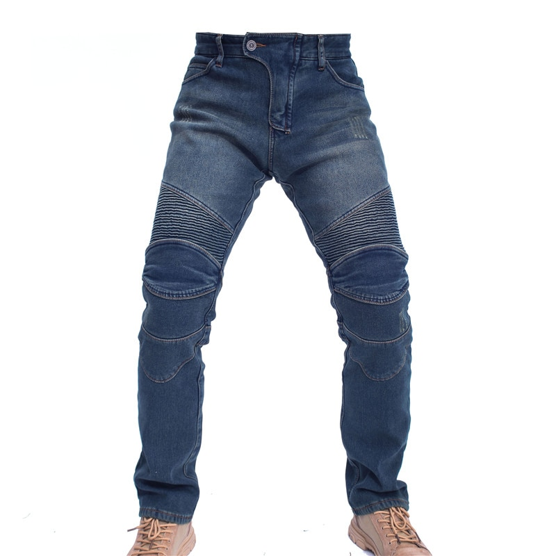 Winter Motor Pants Plus Velvet Thick Motorcycle Rider Racing Jeans Anti-fall Pants With Protective Gear