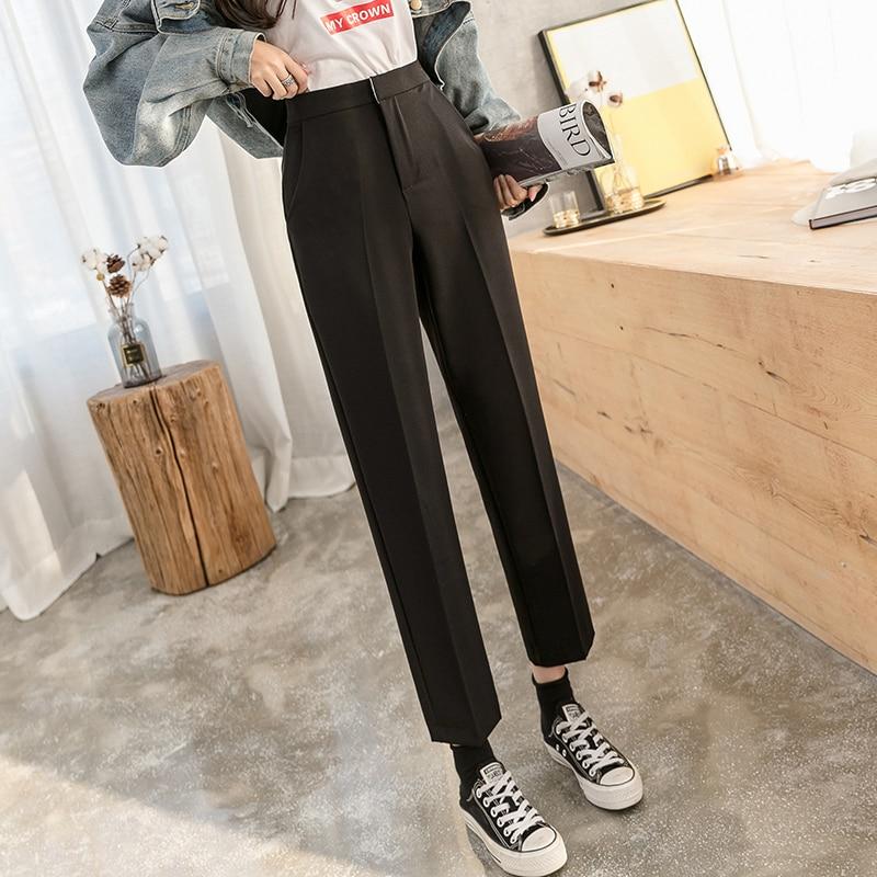 Корейский Весенний костюм 2020 брюки Капри женские брюки черный серый костюм в абрикосовых тонах брюки свободные брюки прямые джинсы для жен...