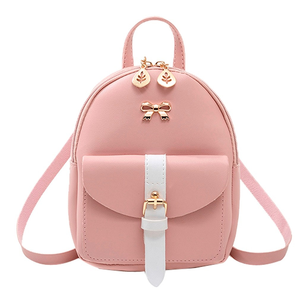 Women's Mini Backpack Luxury PU Leather Kawaii Backpack Cute Graceful Bagpack Small School Bags for