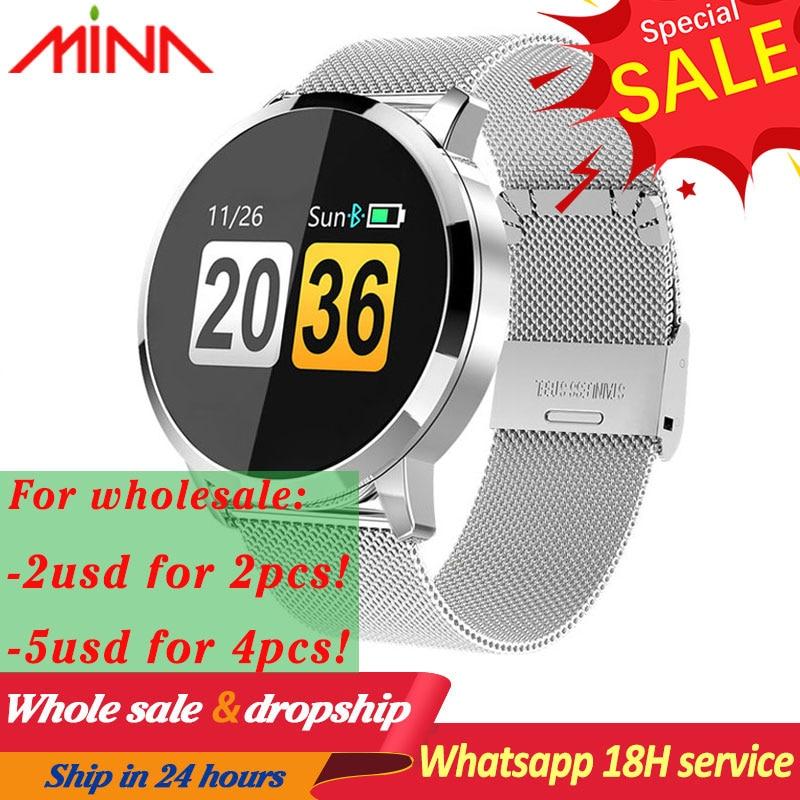 Q8 Smart Watch OLED Color Screen Smart Electronics men Smartwatch Fashion Fitness Tracker watch Heart Rate Bluetooth pk p8 L6 Q9