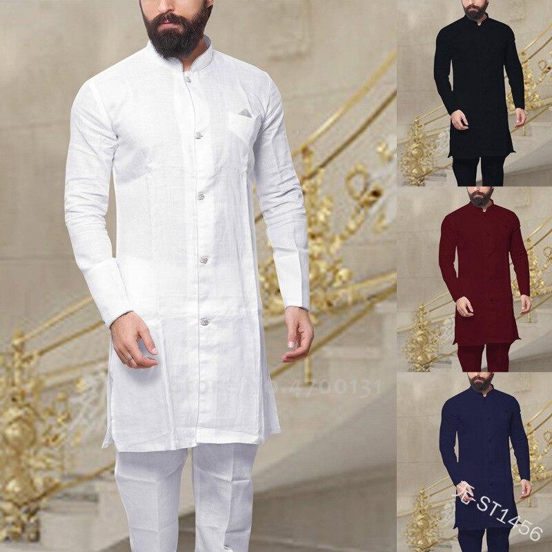 Men Fashion African Clothes Cotton T-shirt Dubai Muslim Long Sleeve Tee Tops Islamic Clothing Set Arabic Casual Blouse Robe Gown