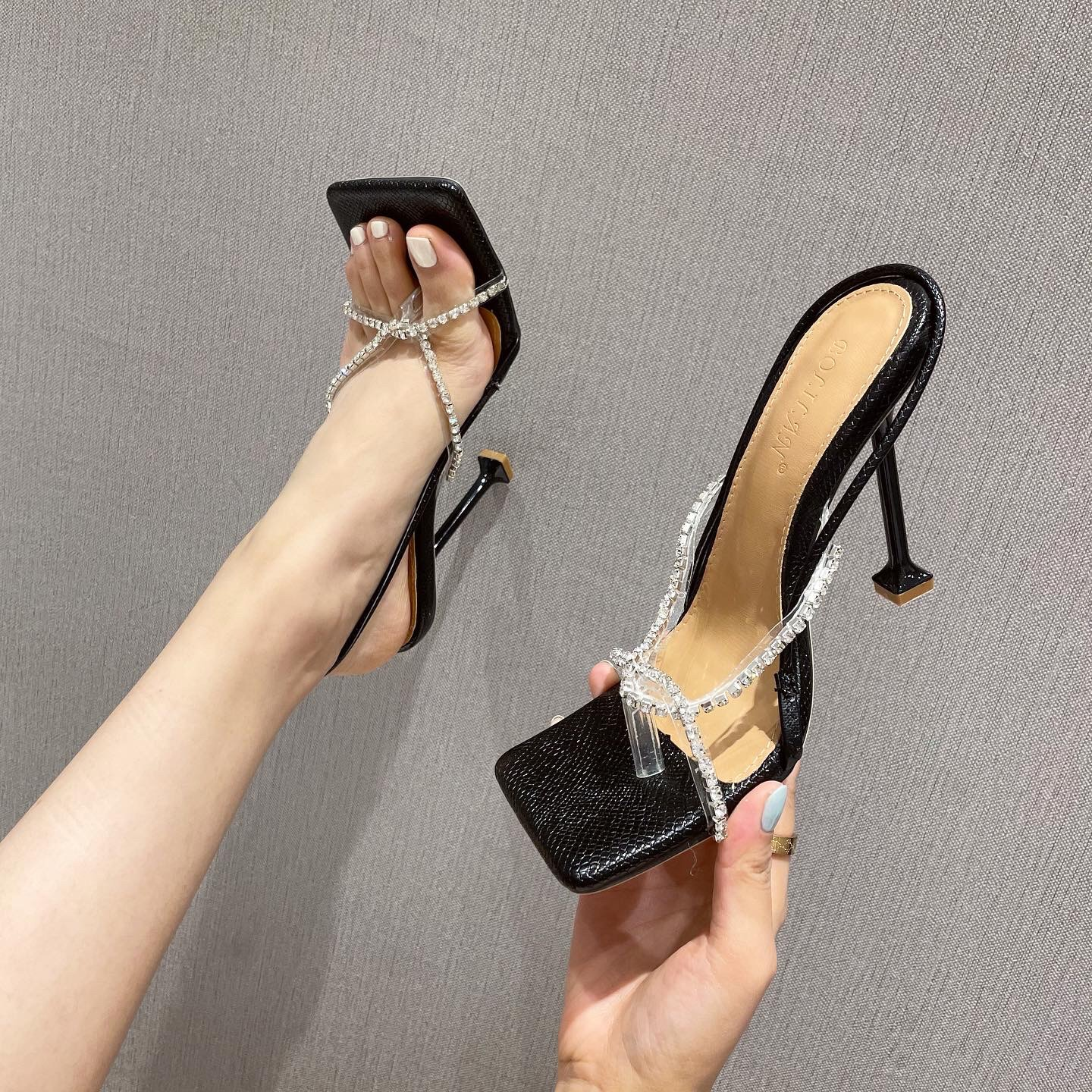 2021 summer new fashion sexy square toe flip-flops rhinestone hollow high-heel sandals stiletto women's shoes 35 to 42