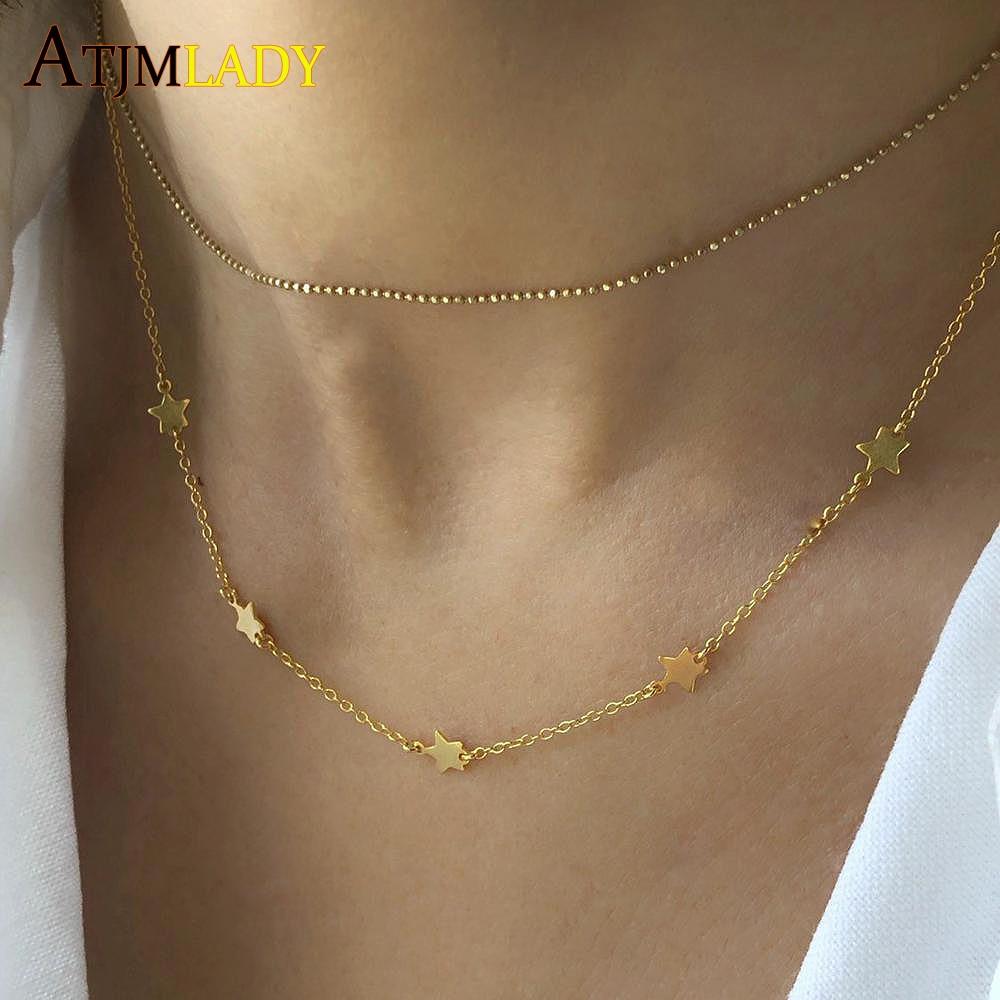 Bonito abalorio con forma de estrella para colgante de plata de ley 925 de 32 + 8cm, color dorado, regalo de Navidad, collar de cadena delicada con estrella