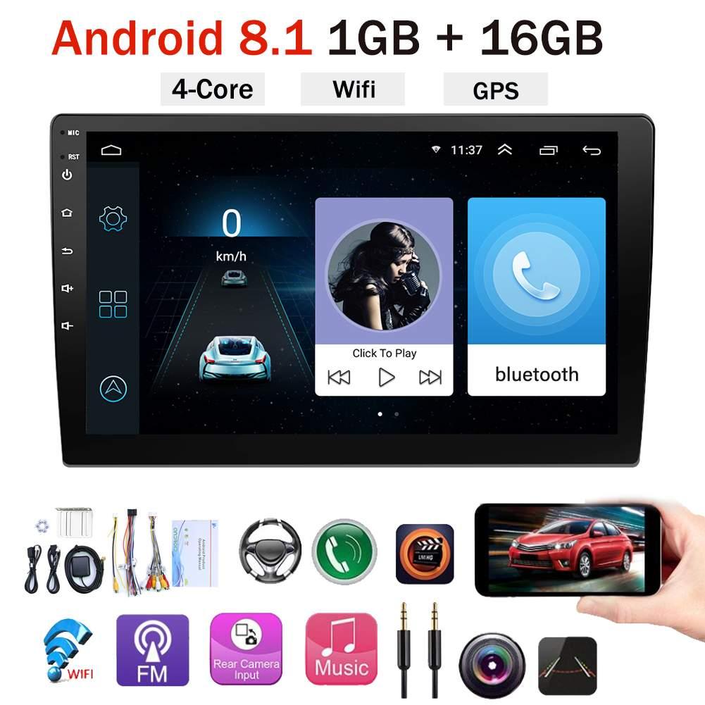 "Reproductor Multimedia 2 din 10,1 ""Android 8,1 para coche, reproductor de Radio MP5 estéreo para coche, Radio automática, Audio, bluetooth, WIFI, GPS, cámara de visión trasera"