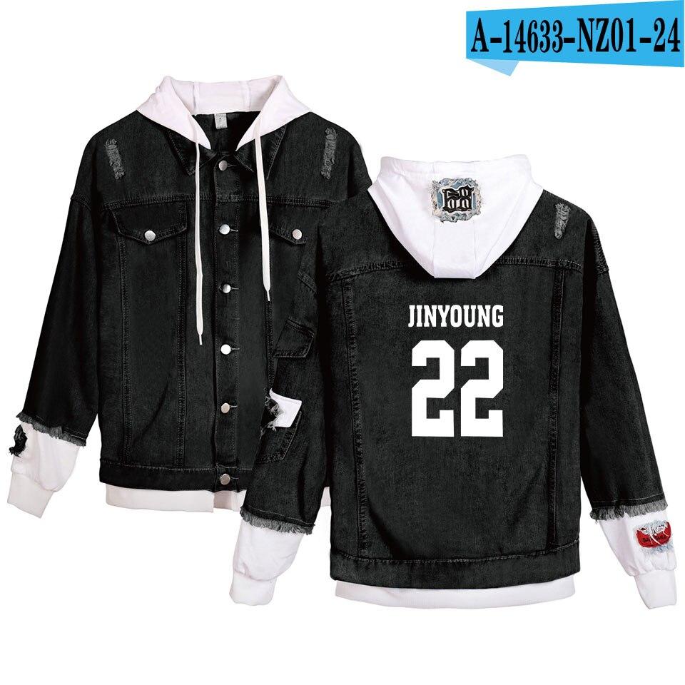 Moda Cool GOT7 jeans hoodies gente joven Otoño Invierno GOT7 Denim Jean wear hombres/mujeres Kpop Hoody Stitching Jacket