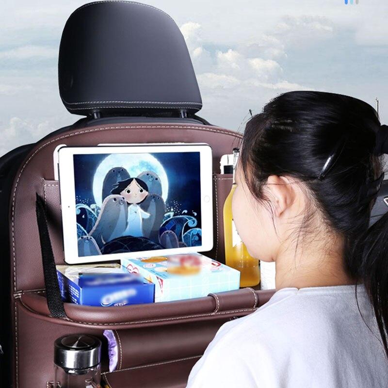 Car Seat Back Bag Foldable Dining Table Tray Universal Multi-Functional Storage Organizer Multi-Pocket Storage Bag Oxford Cloth enlarge