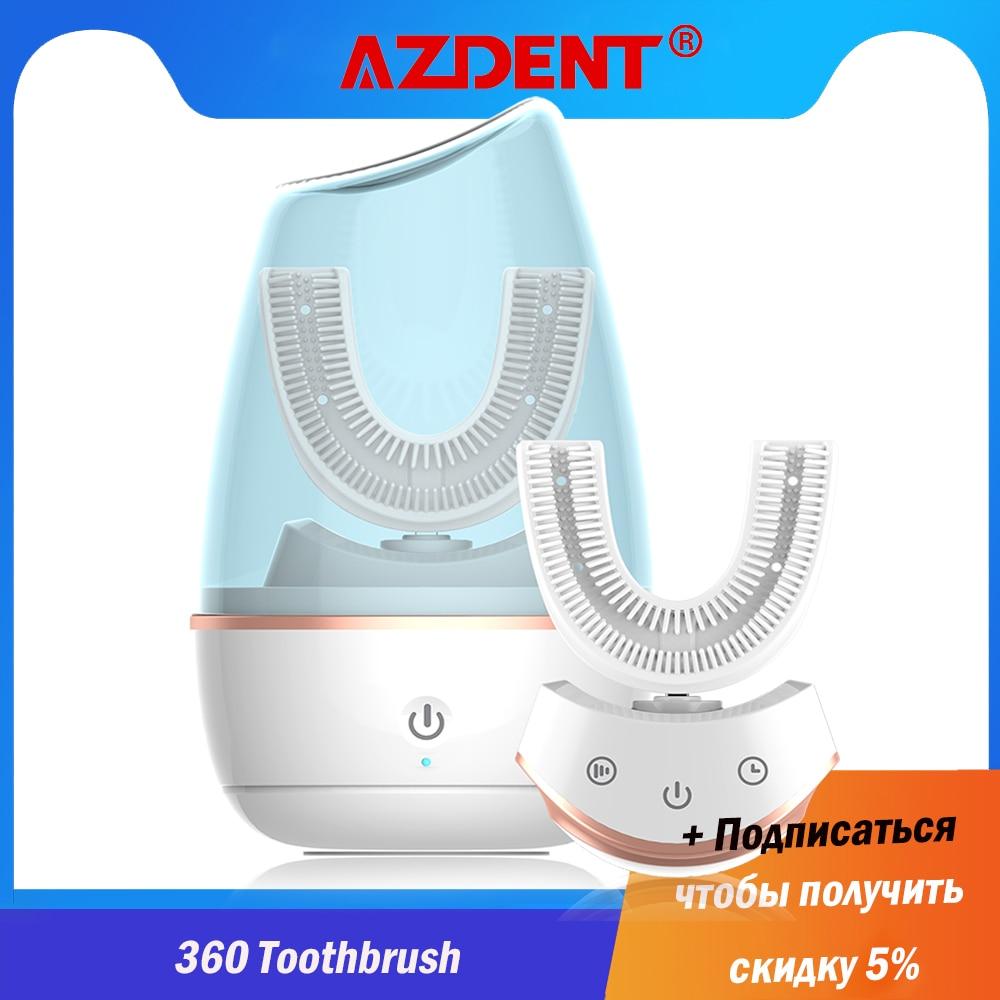 فرشاة أسنان كهربائية وسونيك ، محسّنة 360 ، ذكية ، قابلة لإعادة الشحن ، USB ، سيليكون ، نوع U ، ضوء أزرق للبالغين