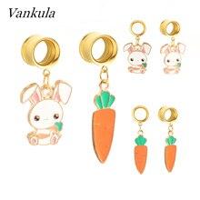 Vankula Ear Gauges Plugs Tunnels Cute Cartoon Element Stainless Steel Dangle Earrings Expander Fashion piercing Jewelry For Gift