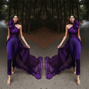 Stylish Purple Jumpsuit Evening Dresses 2020 Sexy One Shoulder Pant Suit Pageant Women Prom Dress With Overskirt Train Cheap
