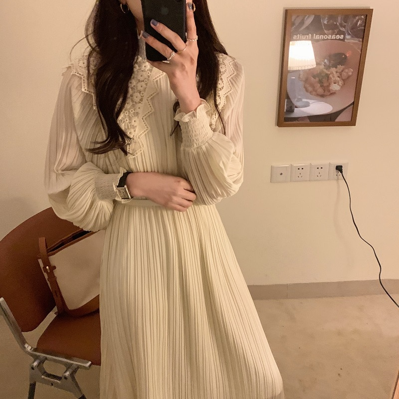 H128821c04aa74de09799ad84e08b9cfbb - Spring / Autumn Lace Stand Collar Long Sleeves Pleated Midi Dress with Belt