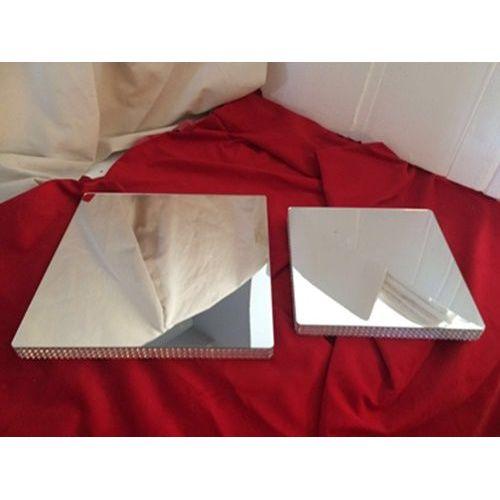 Square Mirrored Silver Polyfoam Cake Mat 40 cm