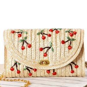 Fashion Clamshell Three Dimensional Hand Embroidered Cherry Grass Woven Artificial Weaving Handbag Crossbody Bags For Women