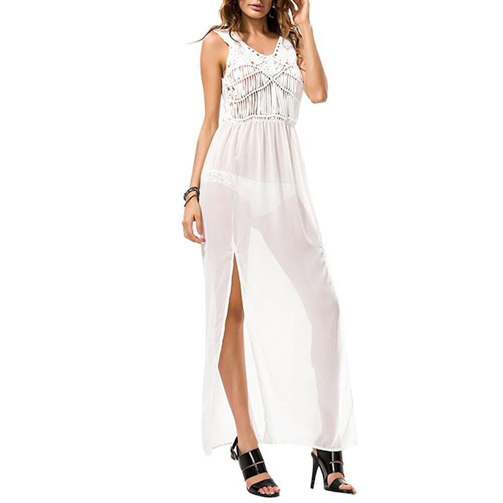 Mulheres Franjas Chiffon Beach Dress Cover Up Túnica Desgaste Cangas Tasseled Casual Vestidos Verão Outono Sólida Sem Mangas Branco