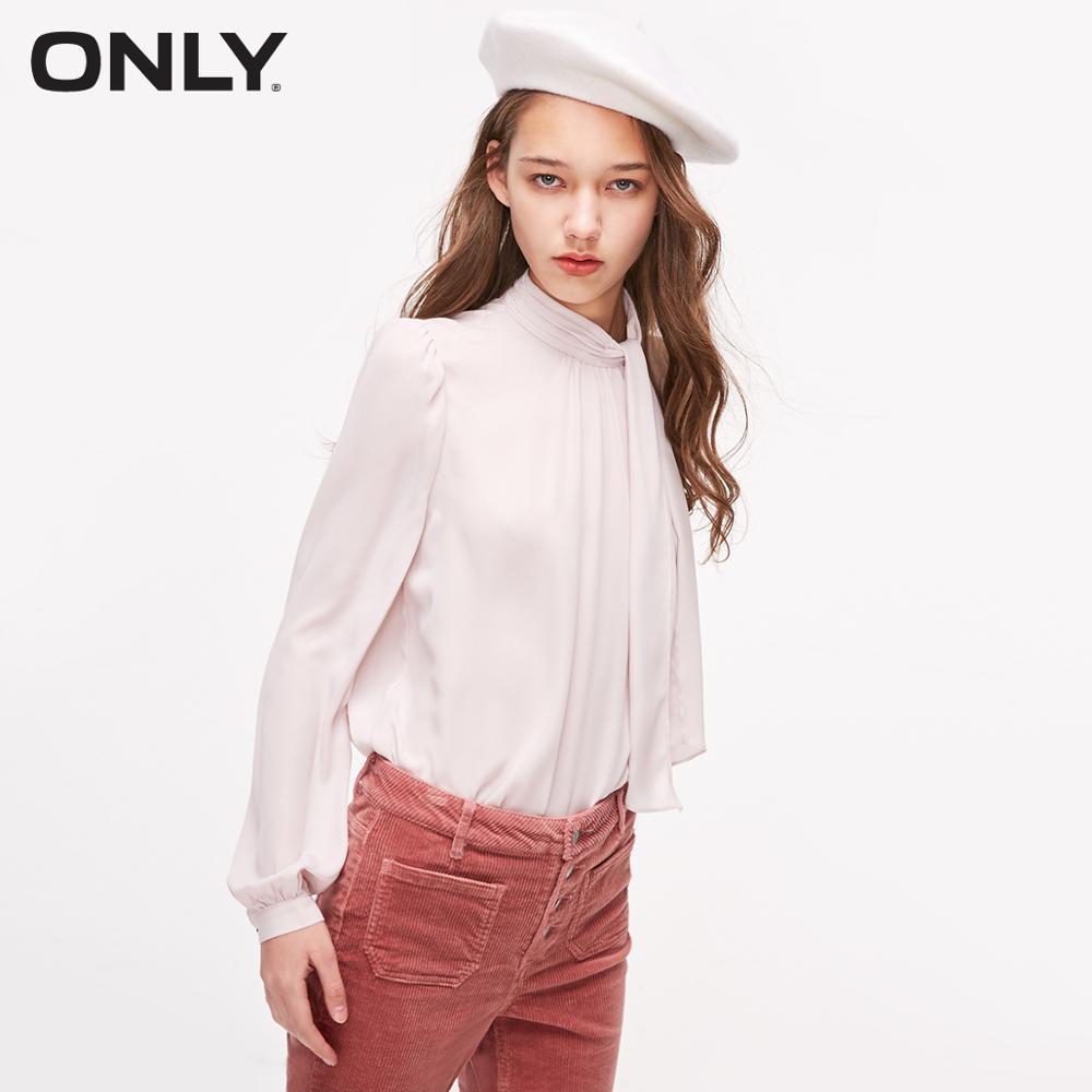 ONLY  Women's Mock Neck Detachable Scarf Long-sleeved Chiffon Shirt   119151510
