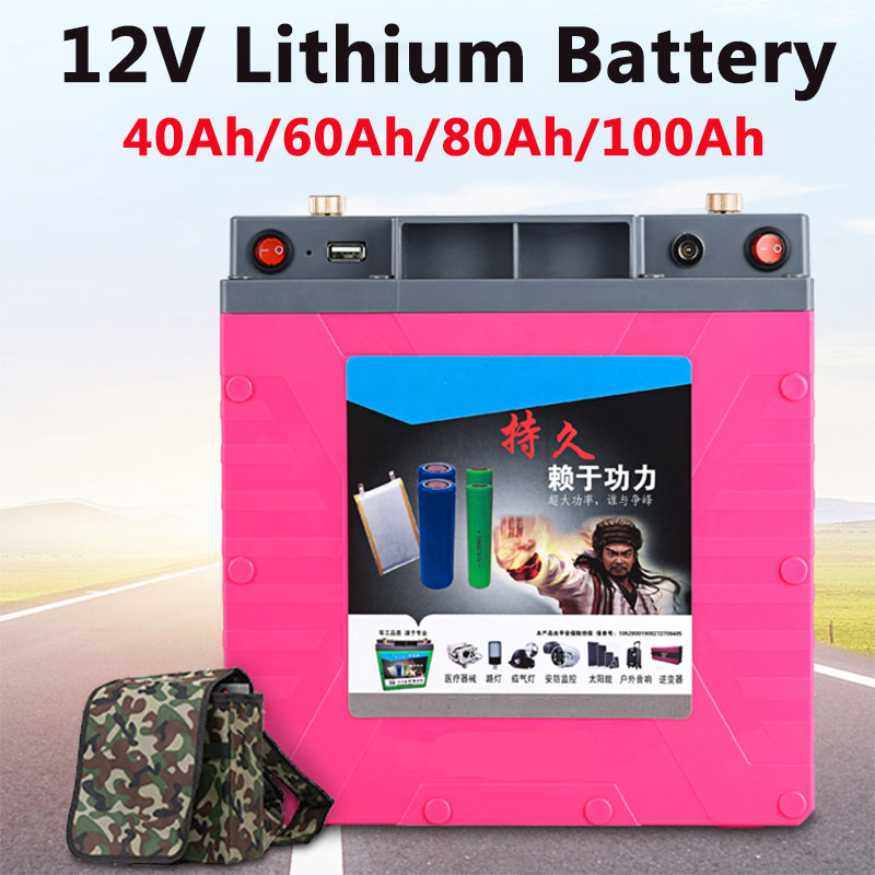 GTK, impermeable, 12V, 40Ah, 60Ah, 80Ah, 100Ah, batería li-po de litio, paquete con BMS para inversor, potencia exterior, UPS, barco + cargador
