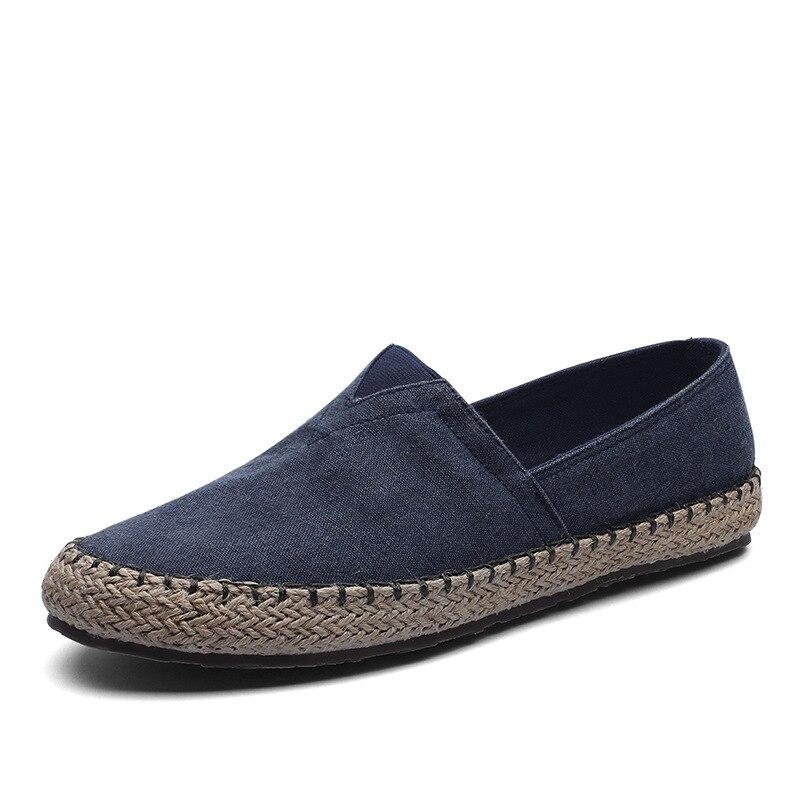 Мужские холщовые Мокасины, эспадрильи, обувь на плоской подошве, пеньковые лоферы, обувь для вождения