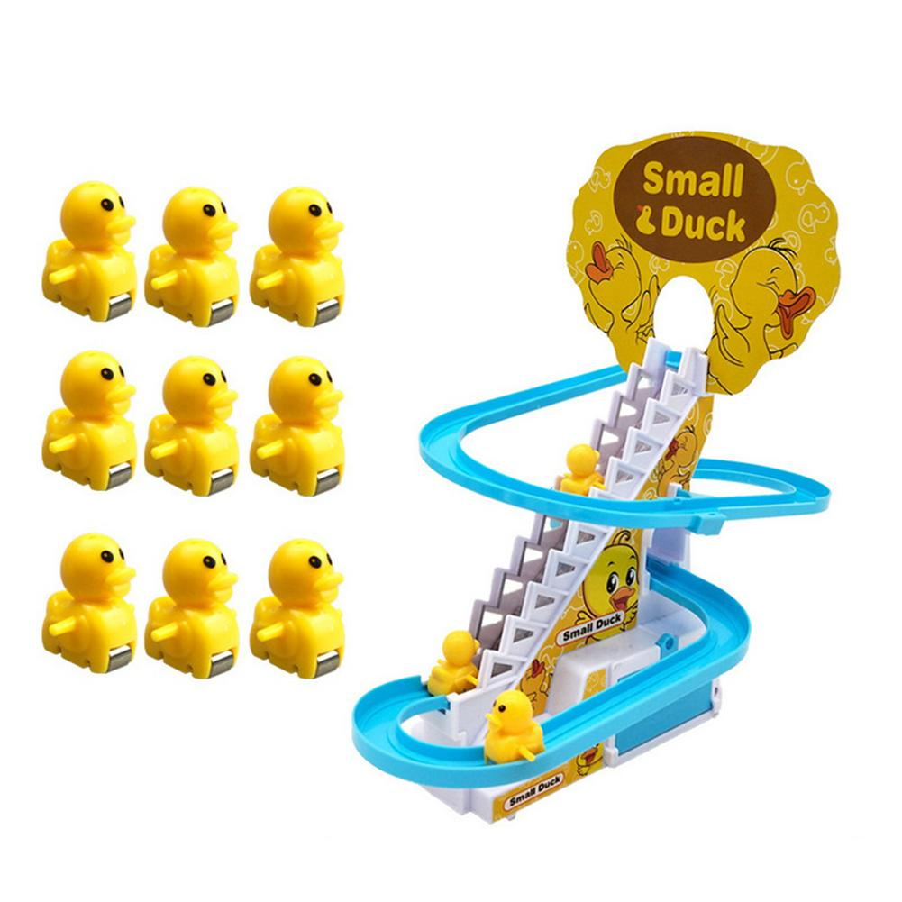 Electric Duck Climbing Stairs Toy Children Roller Coaster Toy Set Electric Light Music Amusement Climb Stairs Track Toy