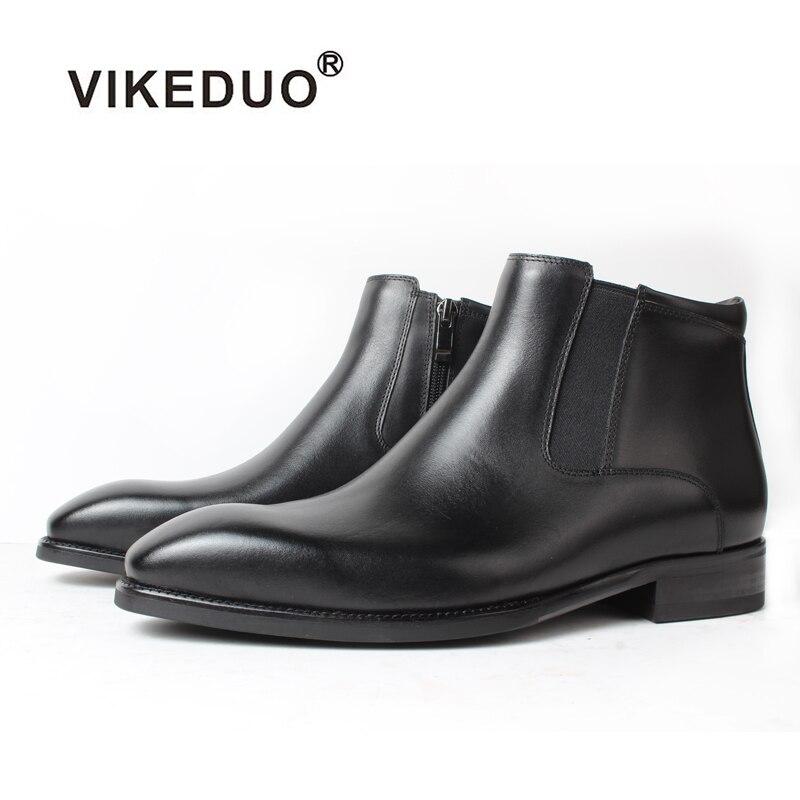 Vikeduo-حذاء رجالي تشيلسي مصنوع يدويًا ، جلد أصلي ، حذاء مصمم بنمط استرالي ، أسود