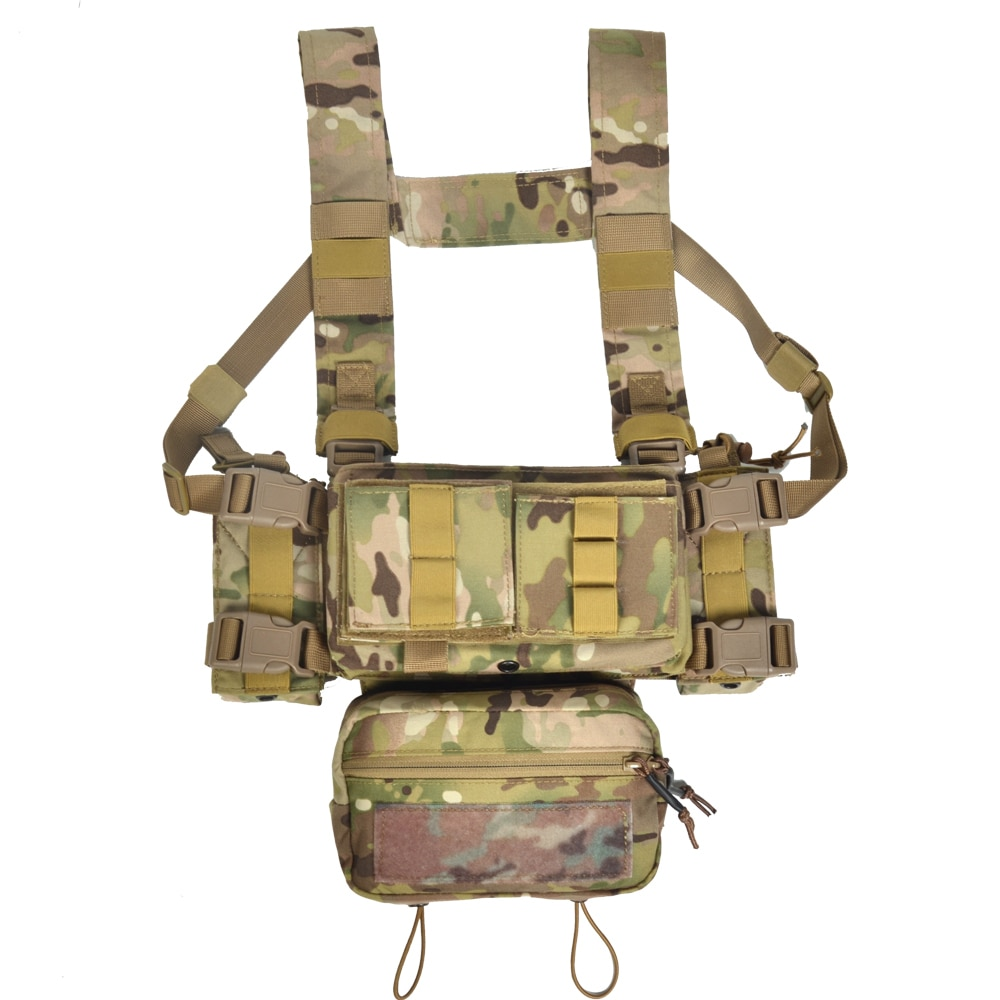Tactical MK3 Chest Rig Vest M4 Triple MAG AK Double Insert Sub Abdominal Pouch H Harness Cordura Airsoft Paintball Accessories