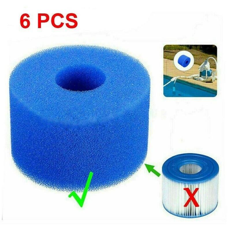 6 uds para Intex Pure Spa, espuma lavable reutilizable, cartucho de filtro...