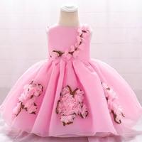 summer handmade flower girl dress princess christening birthday dress for newborn baby girl party wedding prom dress vestidos