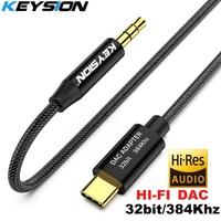 KEYSION HIFI DAC Earphone Amplifier USB Type C to AUX 3.5mm speaker audio adapter 32bit 384kHz Digital Decoder Car AUX Converter