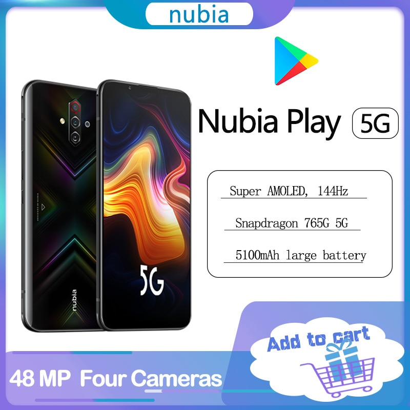 Оригинальный nubia играть 5G смартфон 6,65 дюйм amoled 144 Гц 8 Гб 256 Snapdragon 76 5G SA НСА Dual Band на экране 30 Вт PD быстрое зарядное устройство Зарядное устройство