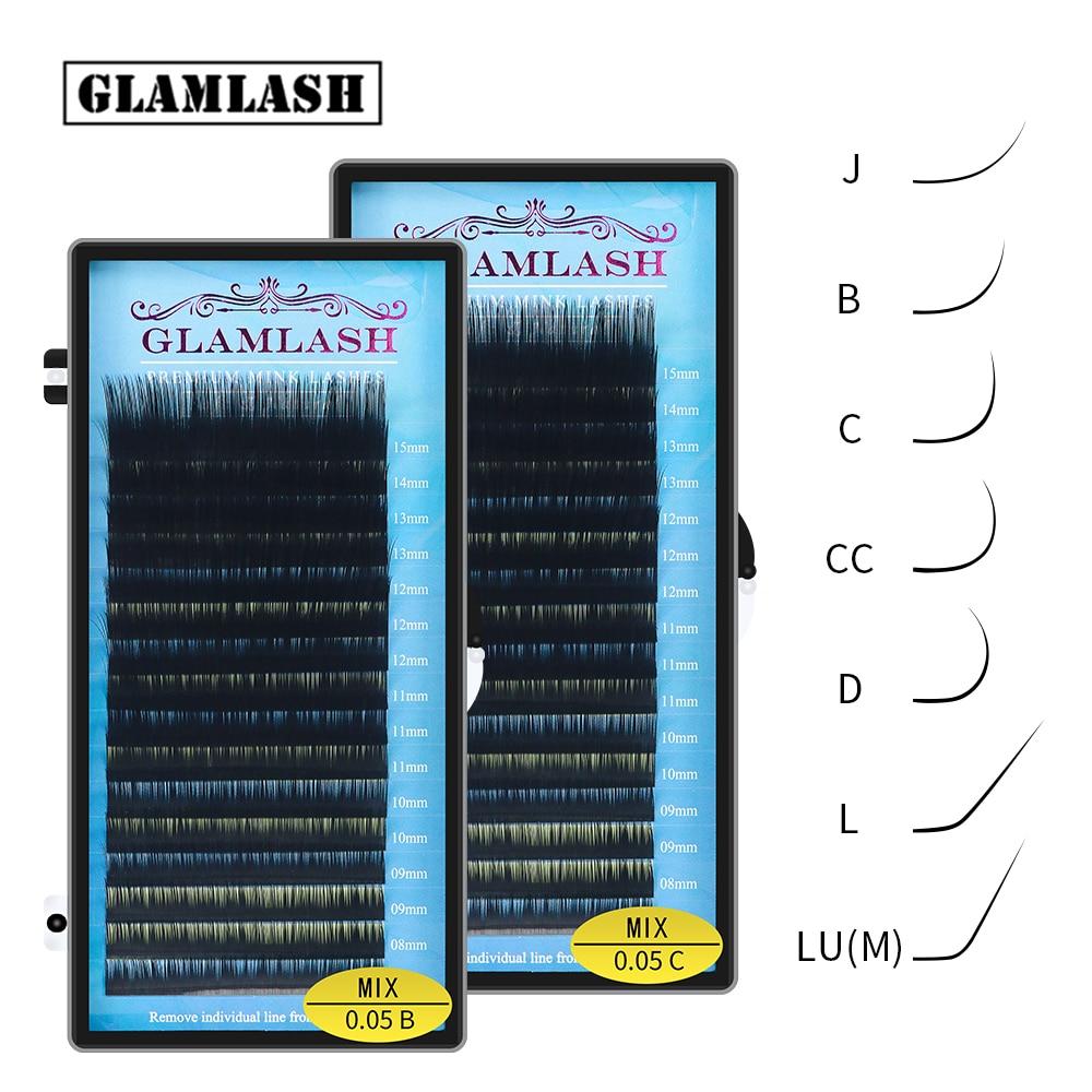 GLAMLASH Mix 7~15/15-20/20-25mm Handmade Korean Pbt J/B/C/D/L/LU(M)  CURL Eyelash Extension Natural Soft Faux Mink Lash