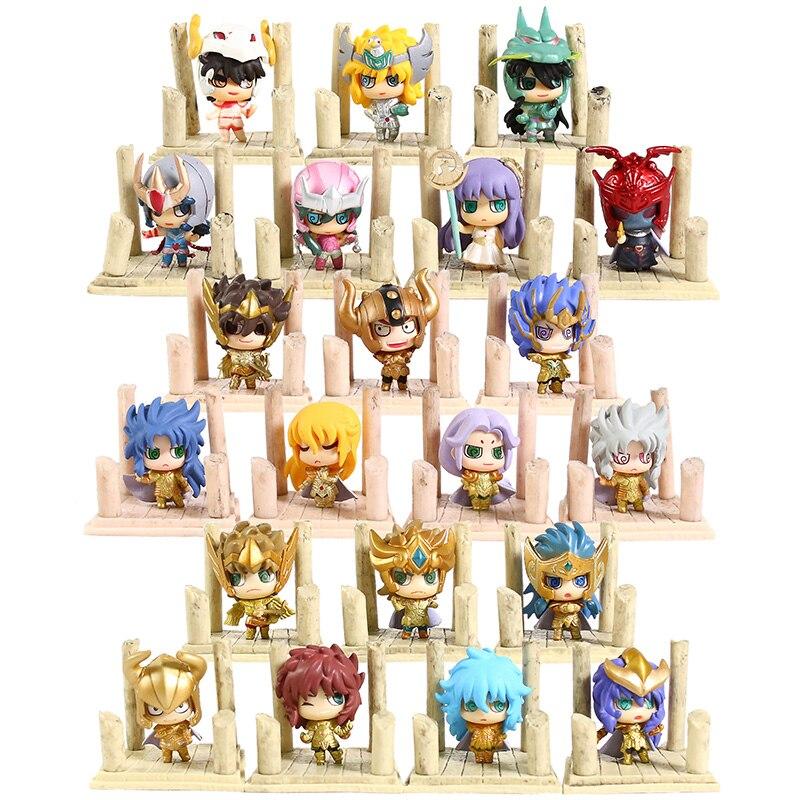7 unids/lote Saint Seiya SHIRYU hyouga SHUN IKKI JABUl Caballeros del zodiaco de PVC MODELO DE figura de acción