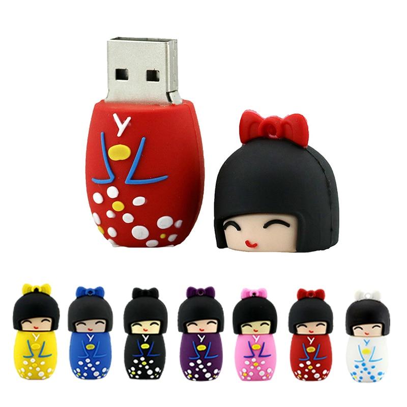 Divertido muñeca personalizada Pendrive 256 8gb 32 GB chica Kimono Cle USB...
