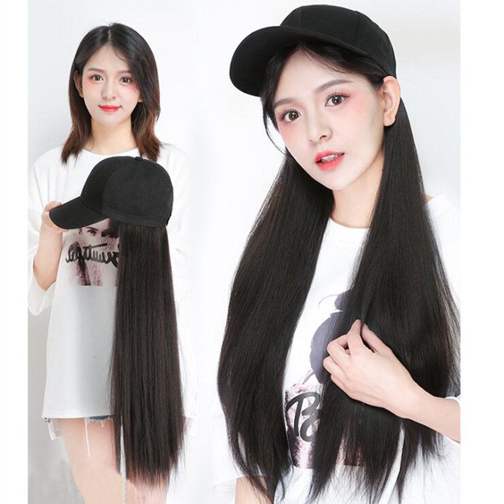 Длинный синтетический парик для бейсбольной кепки, натуральные черные/коричневые прямые парики, естественное соединение, синтетический го...