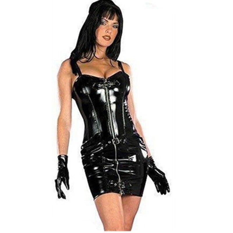 بودي سوت من الجلد الصناعي للنساء ، ملابس مثيرة مع سحاب ، لاتكس ، فستان ضيق ، صنم PVC ، ملابس رقص ليلية