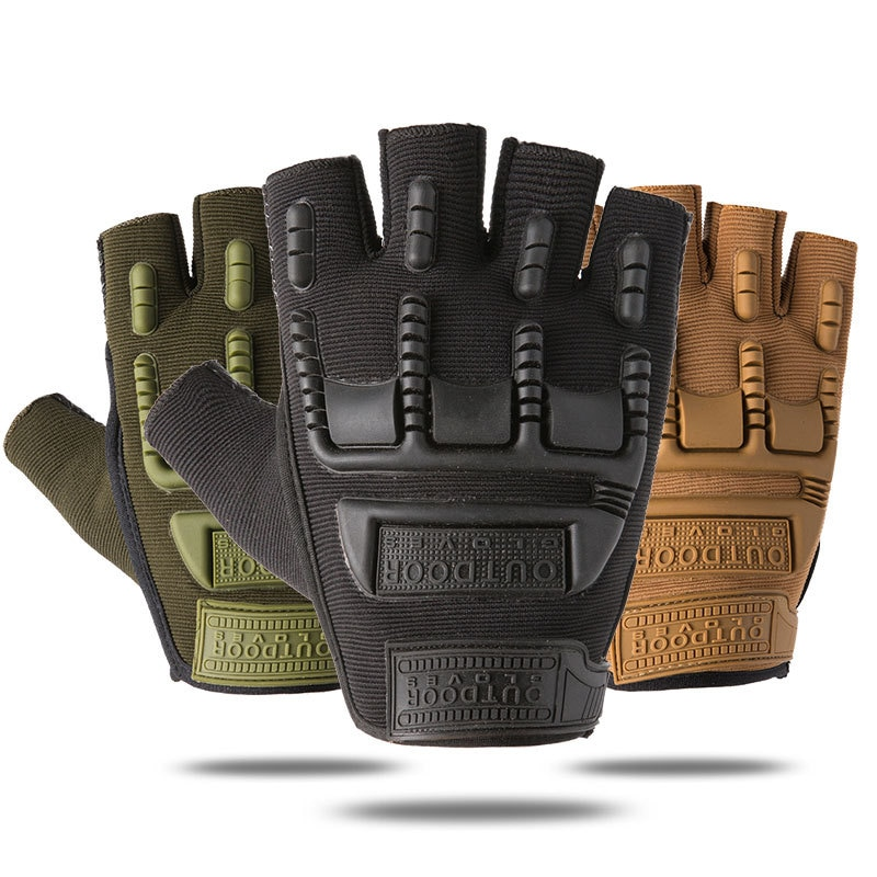 2021 Tactical Fingerless Gloves Men Silicone Non-Slip Wear-Resistant Breathable Outdoor Sports Protective Shell Military Gloves latex gloves security protective five fingers wear resistant non slip 1 pair red and yellow for casting metallurgical