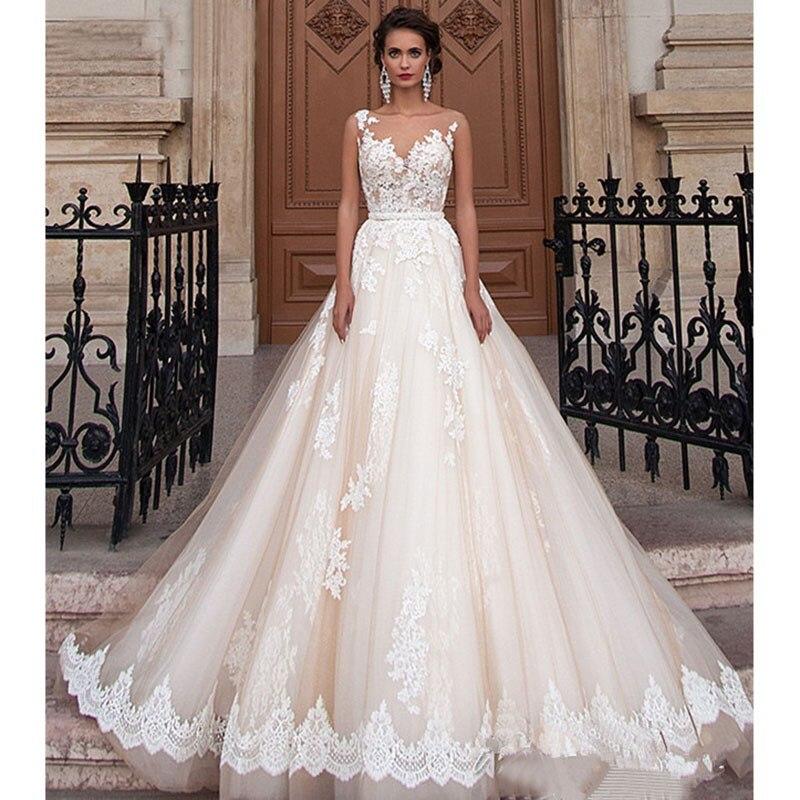 Vestido De novia clásico con encaje bordado, traje De boda De princesa,...