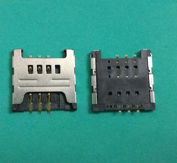 10 unids/lote lector de ranura para tarjeta SIM conector para tarjeta SIM para samsung i699 3520 S6358 S6108 S6102