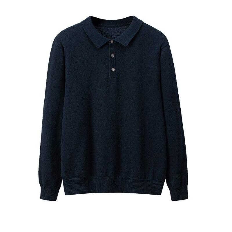 2019 clásico nuevo jersey de Hombre de negocios de manga larga Polo suéter Homme de alta calidad de solapa de algodón Casual de punto jerseys Hombre