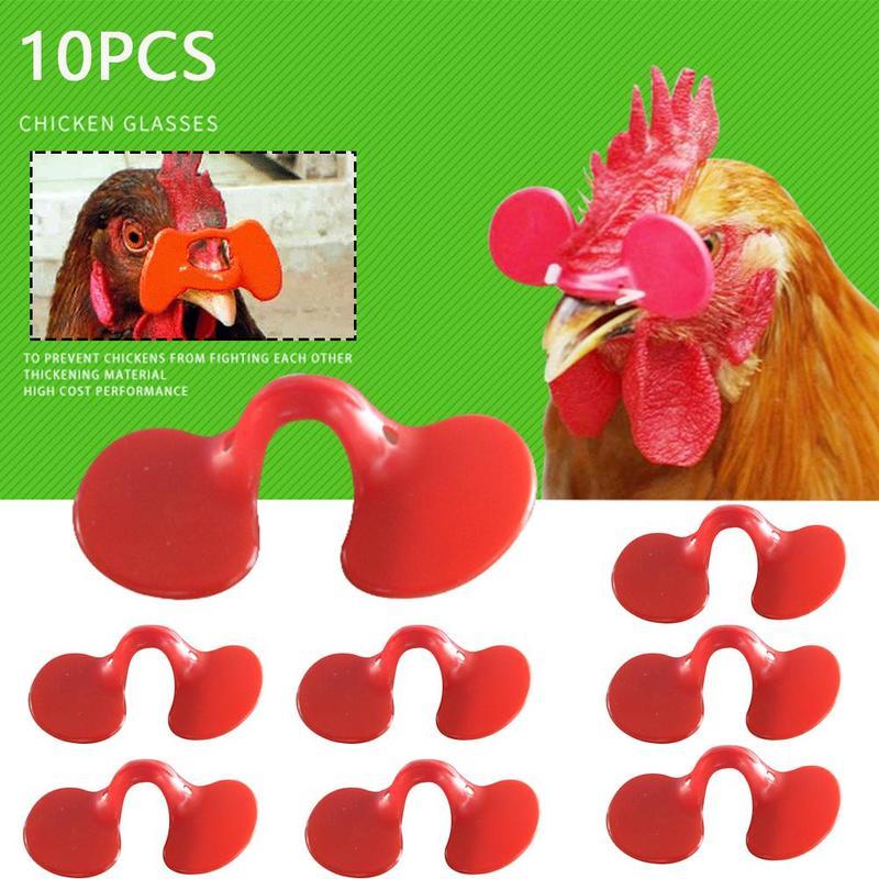10 pçs vermelho frango óculos 7 não-parafuso óculos alicate macio pinless non-tie anti-bicking plástico usar ferramenta fazenda aves suprimentos