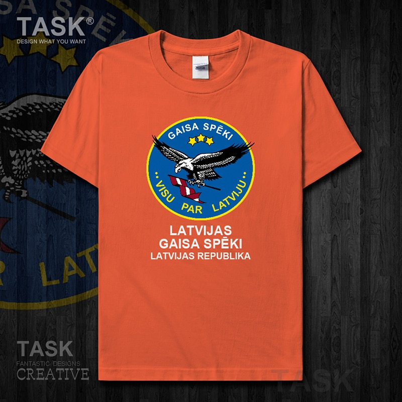 Fuerza Aérea letón Latvija letón LVA LV Latvijas manga corta para hombre Camiseta nuevas tapas país algodón ejército táctico militar 01