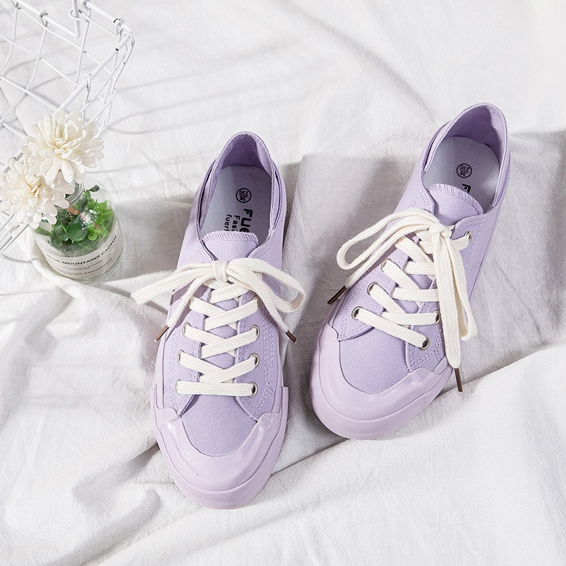 Women Casual Shoes Fashion Breathable Soft Summer Shoes Flat Solid Color Lace-up Schoolgirl Woman Vulcanization Shoes