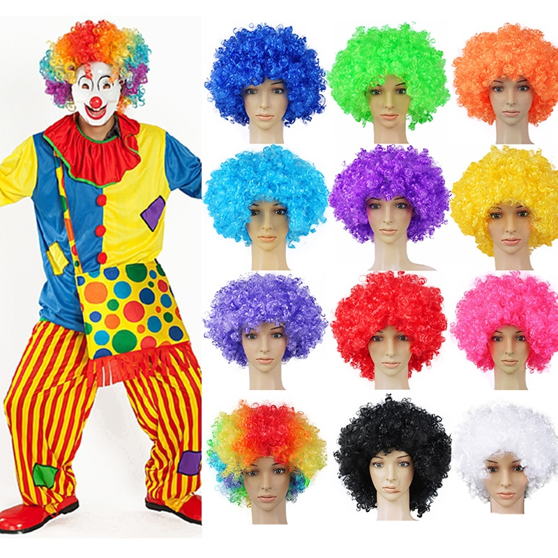 Performance Wavy Curly Clown Wig Cosplay Hair For Christmas new year adult birthday Party Disco deco