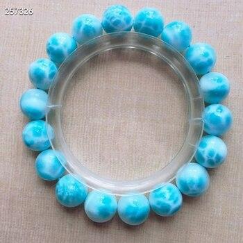 Genuine Natural Blue Larimar Gemstone Bracelet Women 11mm Stretch Round Beads Bracelet Water Pattern Jewelry AAAAAA
