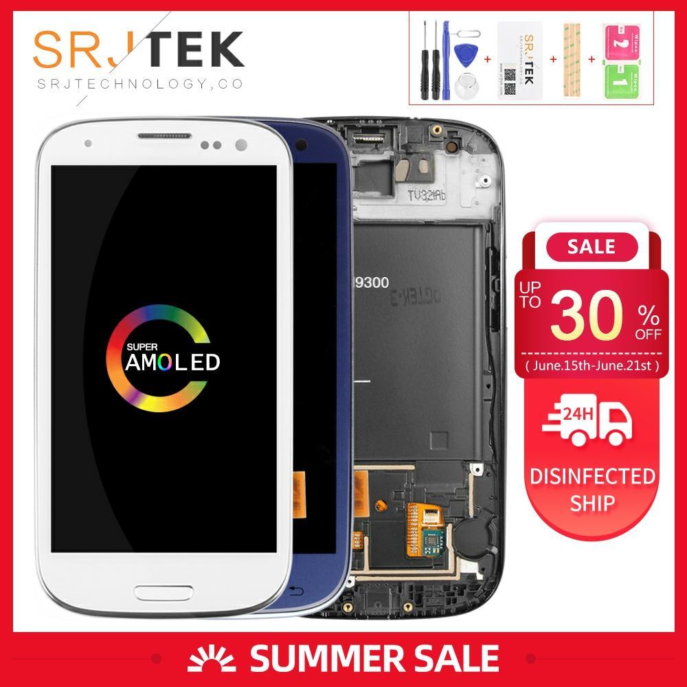 Pantalla para Samsung Galaxy S3 i9300 LCD Touch Digitizer Sensor de cristal montaje con marco 4,8 para S3 Display III i9305 i747 i535