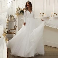 modest wedding dress a line long sleeves v neck beading muslim bridal gowns tulle sweep train bride dresses plus size